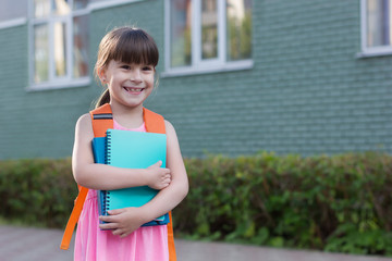 Portrait of smiling school girl with booksisolated on a school background.