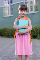 Little girl back to school. Schoolgirl holding notebooks.