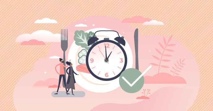 Eating time as daily food balance and routine clock tiny persons concept