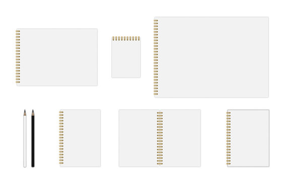 Vector notebook mockup with gold spiral (A3, A4, A5, A6), hardcover notebook, pencils