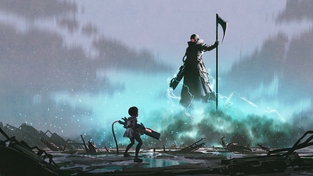 girl with a gun facing a robot with Reaper scythe, digital art style, illustration painting