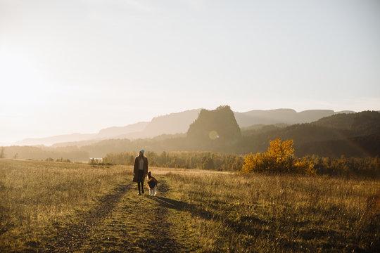Woman walking her dog