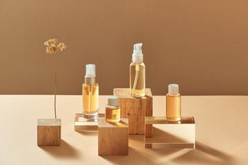Natural cosmetics - beauty treatment. Minimal packaging mock up