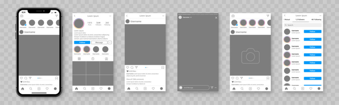 Mockup of social network. Smartphone template for social media app. Social media mockup with cellphone. Social network interface app - stock vector.