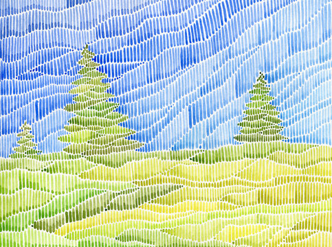 Watercolor landscape with conifer trees