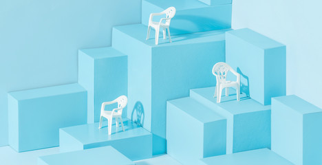 Chair miniature on blue background