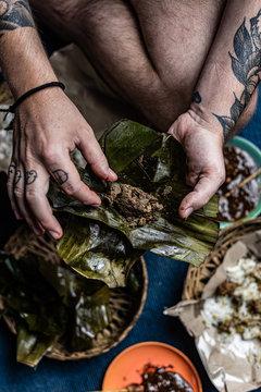 Indonesian Sate on a street food restaurant