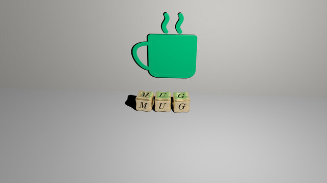 mug 3D icon on the wall and cubic letters on the floor, 3D illustration for coffee and background