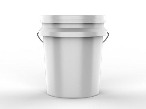Blank Plastic Paint Bucket For Mockup Design And Branding, 3d render illustration.