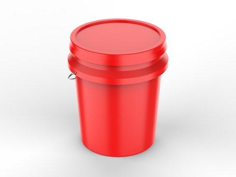 Blank Plastic Paint Bucket For Mockup Design And Branding, 3d render illustration.