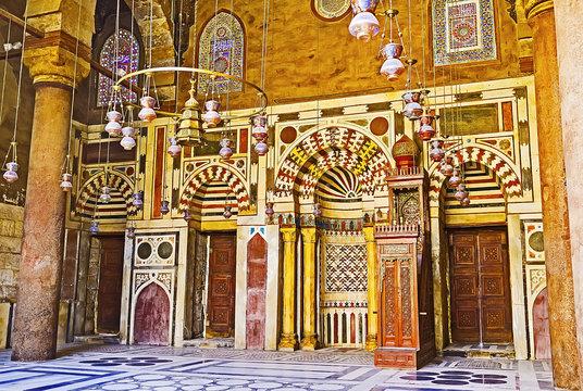Ornate prayer hall of Al-Nasir Muhammad Mosque, on Oct 12, 2014 in Cairo, Egypt