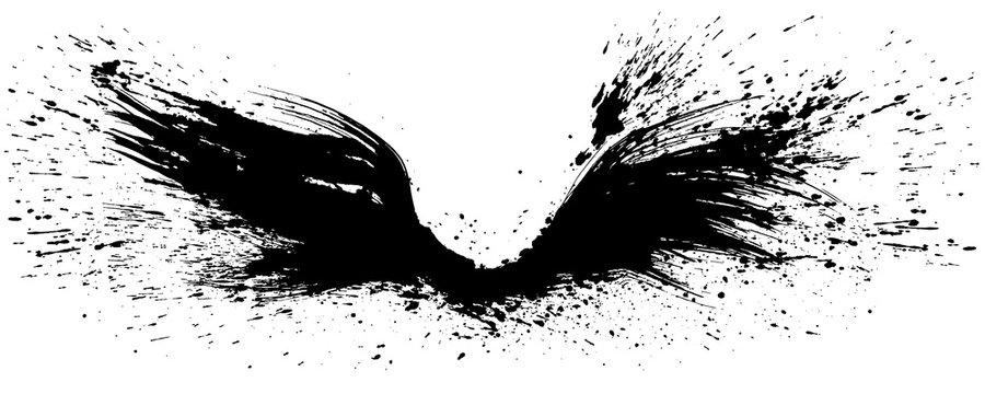 羽ばたく翼 翼を広げる 手書きの毛筆イラスト
