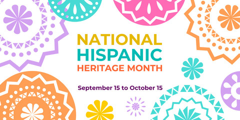 Obraz Hispanic heritage month. Vector web banner, poster, card for social media and networks. Greeting with national Hispanic heritage month text, Papel Picado hispanic abstract pattern on white background. - fototapety do salonu