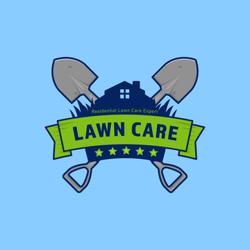 Gardening lawn care company vector logo badge with shield and shovel