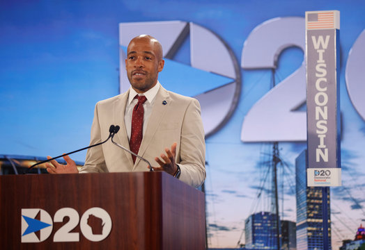 Wisconsin Lieutenant Governor Mandela Barnes casts the Wisconsin delegation's votes during the roll call on second night of virtual 2020 Democratic Convention in Milwaukee, Wisconsin