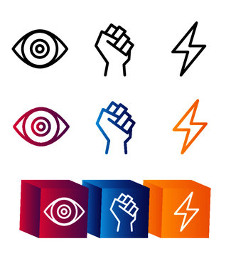 vector icon set superpowers