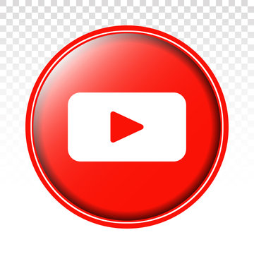 Editorial round youtube icon or logo for apps or website