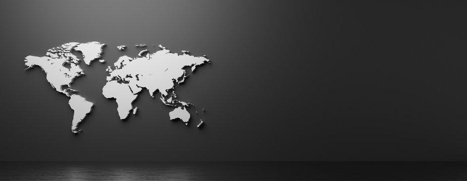 立体的な世界地図の3Dレンダリンググラフィックス