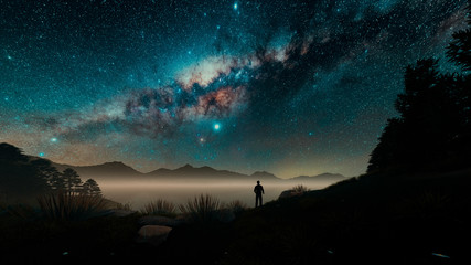 3D Illustration Milky Way Sky With People Standing