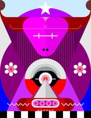 Taurus Zodiac sign modern abstract art vector illustration.