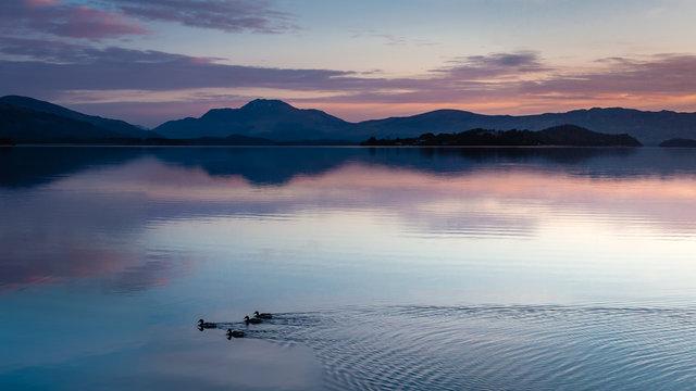 Loch Lomond Dawn from Duck Bay.