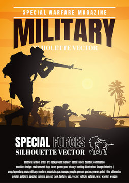 Military vector illustration, Army background, Book cover design.