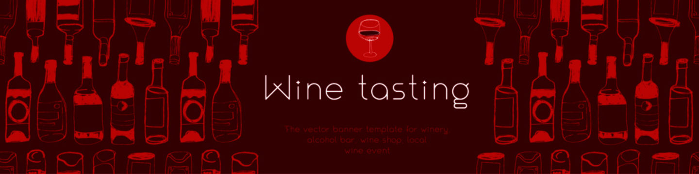 Panoramic banner template of wine tasting concept. Doodle bottles pattern with hand drawn Illustrations for wine shop, restaurant website banner. Local wine event — Organic Wines. Bar background.