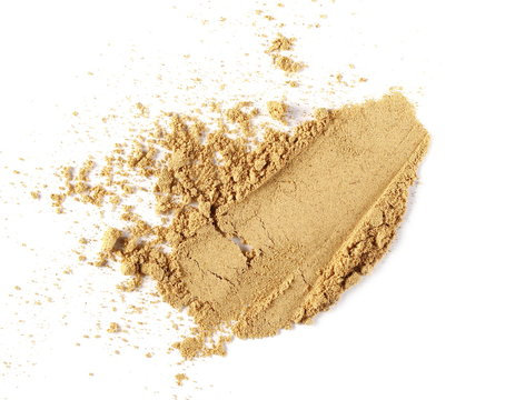 Ginger root powder isolated on white background, Zingiber officinale, top view