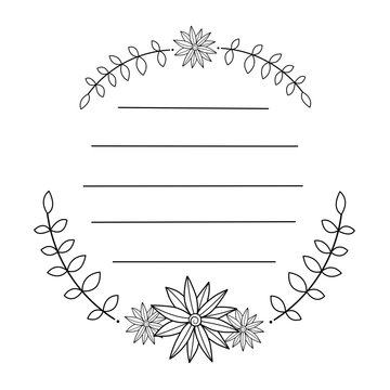 Doodle flowers & leaves in circle frame. Black line in for message like notepaper. Silhouette use to cricut, cut file.Vector illustration about stationery.
