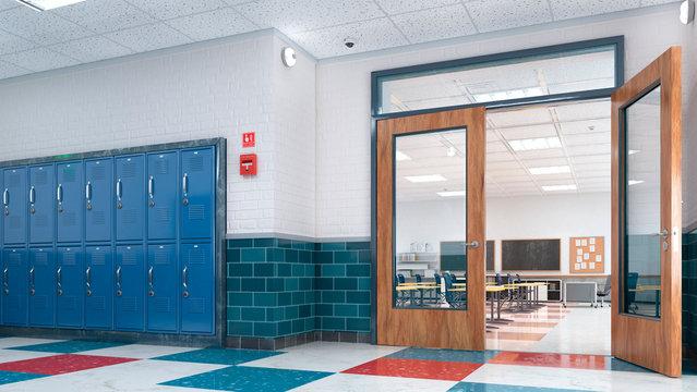 School corridor and classroom. 3d illustration