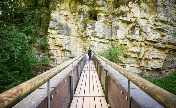 """Hiking in the Canyon """"Wutachschlucht"""" in the Black Forest in Germany"""