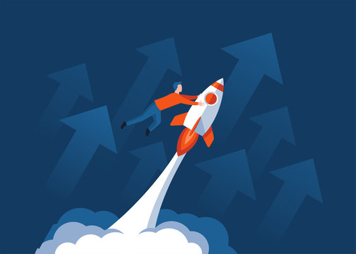 Success concept - young successful man riding the space rocket and arrows up on background - vector cartoon illustration