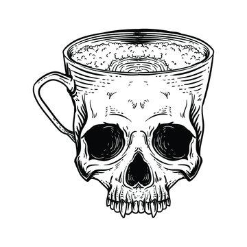 tattoo and t-shirt design black and white hand drawn  skull mug coffee cup premium vector