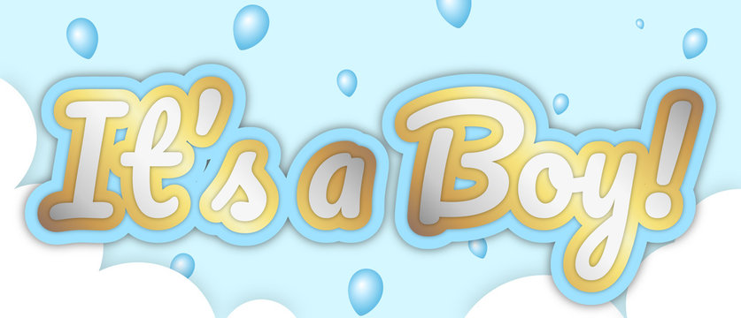 """It's a Boy"" banner. Big bold stroke style text. Editable removable background. Gold and silver script on baby blue, in sky with clouds and balloons. Vector Illustration."