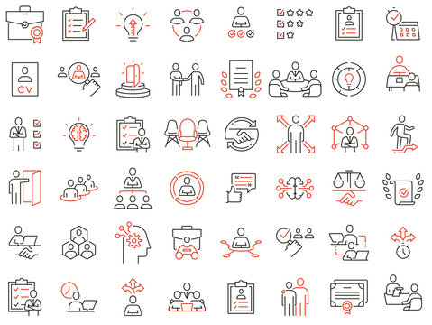 Vector Set of Linear Icons Related to Recruitment, Career Progress and Personal Development. Mono Line Pictograms and Infographics Design Elements