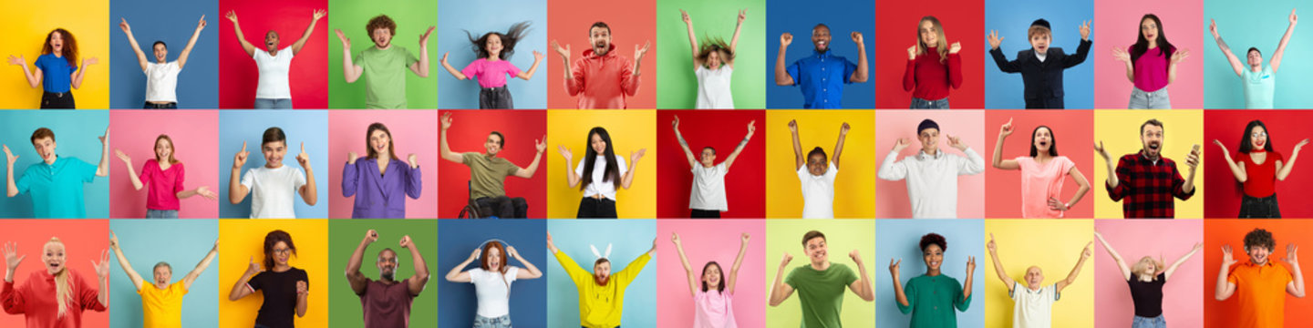 Collage of portraits of 31 young emotional people on multicolored background. Concept of human emotions, facial expression, sales. Look winning, celebrating, cheering, crazy happy and shocked.