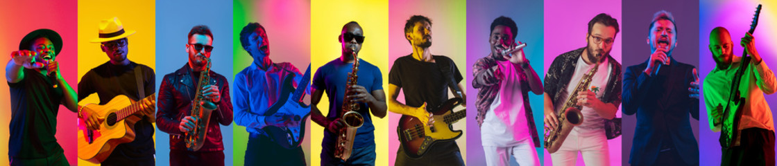 Collage of portraits of 8 young emotional talented musicians on multicolored background in neon light. Concept of human emotions, facial expression, sales. Inspied male jazzmen, guitarist, singer.