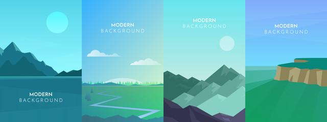 Photo sur Plexiglas Turquoise Abstract landscape set, Vector banners set with polygonal landscape illustration, Minimalist style, Flat design