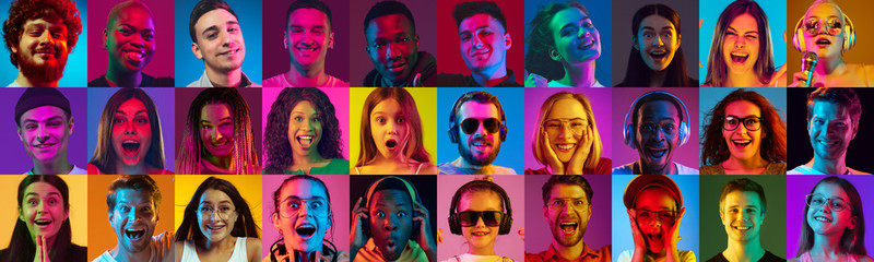 Collage of portraits of 23 young emotional people on multicolored background in neon. Concept of human emotions, facial expression, sales, ad. Listening to music, smiling, laughting, shocked, cheerful