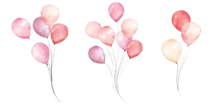 watercolor ping balloons