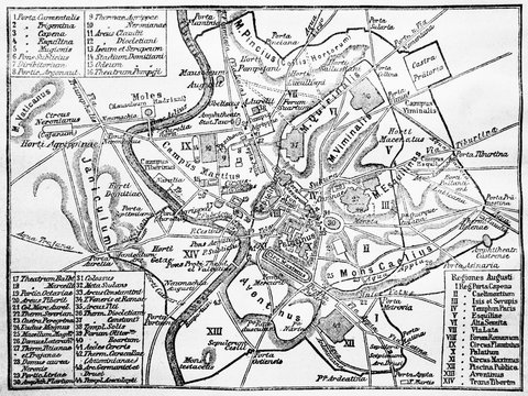 Ancient Rome Mapin the old book Encyclopedic dictionary by A. Granat, vol. 8, S. Petersburg, 1903