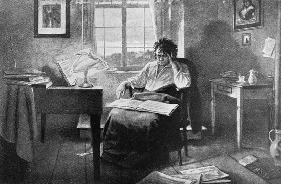 Ludwig van Beethoven, was a German composer and pianist in the old book Biographies of famous composers by A. Ilinskiy, Moscow, 1904