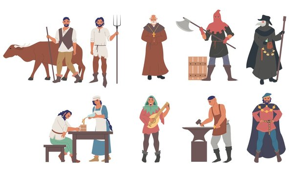 Medieval people male and female cartoon character set flat vector isolated illustration. Priest, peasants, executioner, plague doctor, blacksmith, musician, minstrel, royal courtier. Medieval clothing