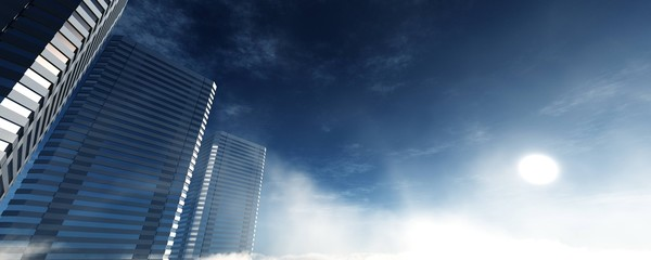 Wall Mural - Skyscrapers in the clouds, flying above the clouds among modern high-rise buildings, 3D rendering