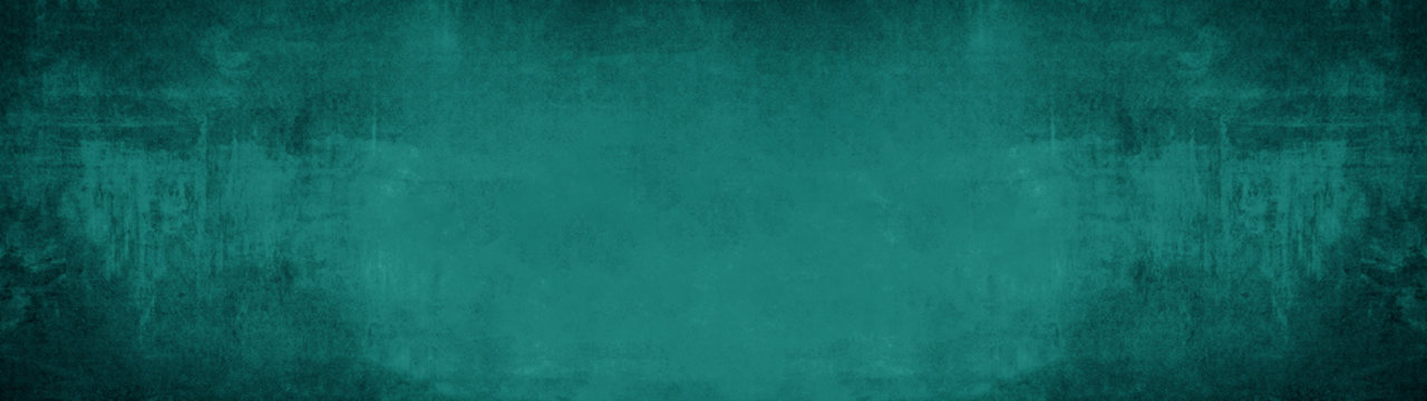 Dark green blue turquoise stone concrete paper texture background panorama banner long, with space for text