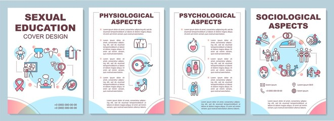 Sexual education brochure template. Aspects of human sexuality. Flyer, booklet, leaflet print, cover design with linear icons. Vector layouts for magazines, annual reports, advertising posters