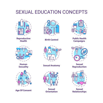 Sexual education concept icons set. Human sexuality awareness idea thin line RGB color illustrations. Anatomy and reproductive health teaching. Vector isolated outline drawings. Editable stroke