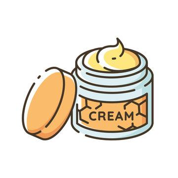 Honey skin care RGB color icon. Natural cosmetics, organic beauty product. Cosmetology. DIY cosmetics. Body cream, moisturizer jar isolated vector illustration