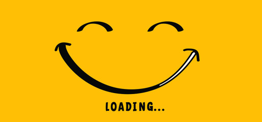 Smile is loading. Happy world smile day, smiling. Big happiness Fun thoughts emoji face emotion smiley Laughter lip symbol Smiling lips mouth Funny teeth Vector laugh cartoon pattern Lol laughing.