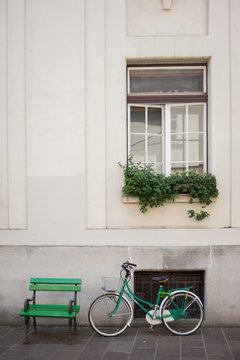 bicycle in front of a house